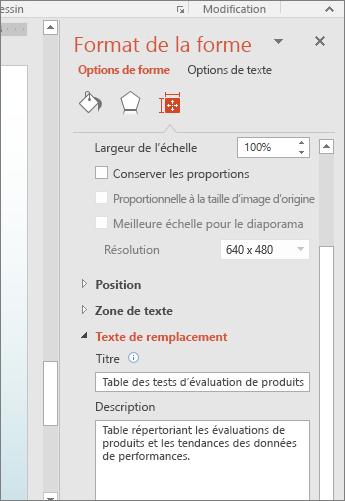 Capture d'écran du volet Format de la forme avec les zones de texte de remplacement décrivant le tableau sélectionné