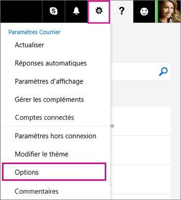 Cliquez sur Paramètres > Options