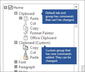 Exemple illustrant des groupes par défaut et personnalisés