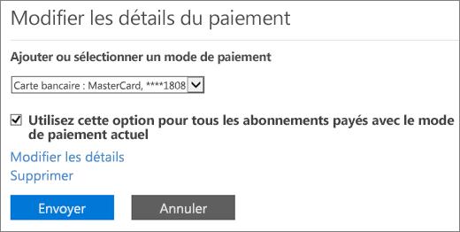 Volet Modifier les détails du paiement lorsqu'un abonnement est réglé par carte bancaire ou compte bancaire