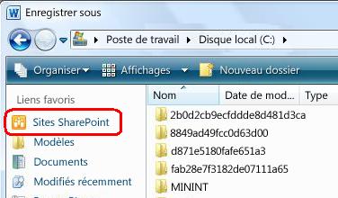 Lien vers les sites SharePoint dans la boîte de dialogue Enregistrer sous