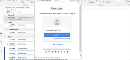 Boîte de réception en arrière-plan et boîte de dialogue de connexion Google au premier plan