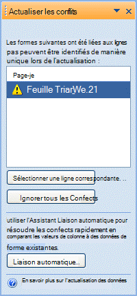 Fenêtre Actualiser les conflits indiquant les formes qui ne peuvent pas être liées en raison d'un problème avec l'identificateur unique.