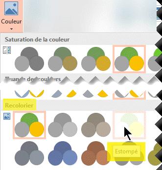 Dans l'onglet Outils Image - Format du ruban de la barre d'outils, sélectionnez Couleur. Sous Recolorier, sélectionnez Estomper.