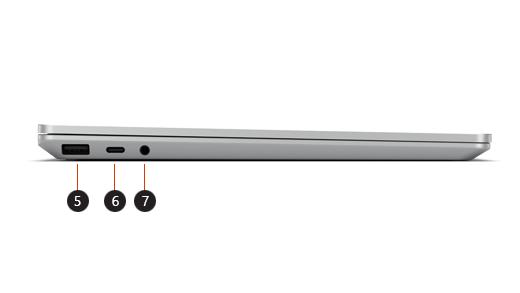 Légendes pour le côté gauche de l'ordinateur portable surface Go