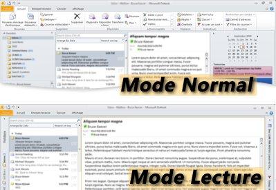 Exemple d'Outlook en modes Lecture et Normal