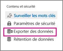 Commande d'exportation des données