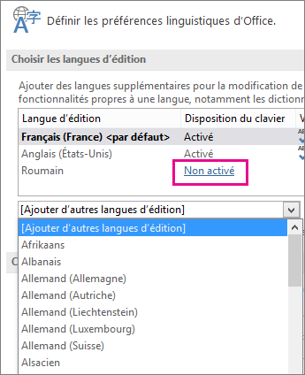 Langue d'édition non activée
