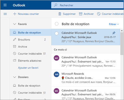 Capture d'écran de la boîte de réception avec la boîte de réception Prioritaire désactivée