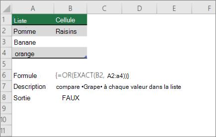 Exemple utilisant des fonctions OR et EXACT pour comparer une valeur à une liste de valeurs