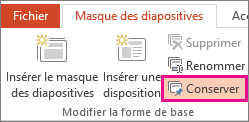 Option Conserver dans l'onglet Masque des diapositives