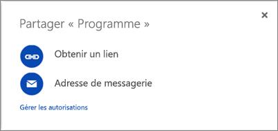 Capture d'écran de la boîte de dialogue Partager