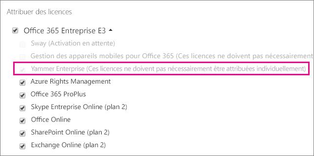 Capture d'écran de la section Attribuer des licences du Centre d'administration Office365 avec une licence YammerEnterprise sélectionnée.