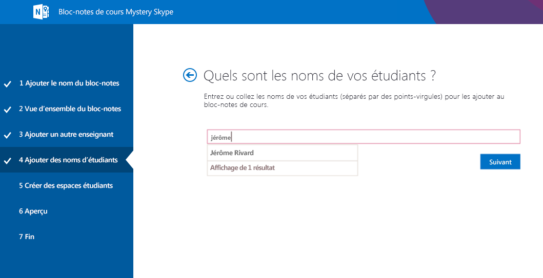 Ajoutez des étudiants à Mystery Skype