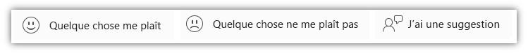 Capture d'écran des boutons de commentaires, y compris «Quelque chose me plaît», «Quelque chose ne me plaît pas», «J'ai une proposition».
