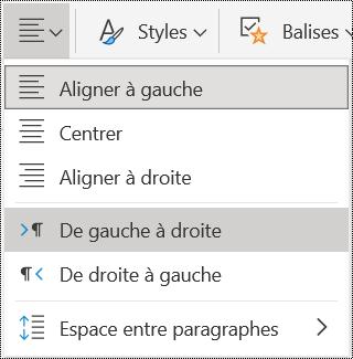 Options du menu Alignement du paragraphe dans OneNote Online