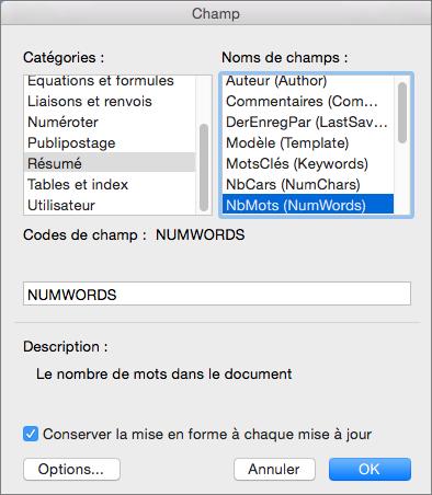Boîte de dialogue Champ avec les éléments Résumé et NbMots sélectionnés
