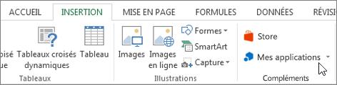 Capture d'écran d'une section de l'onglet Insertion dans le ruban Excel avec un curseur en pointant sur mes applications. Sélectionnez Mes applications pour les applications access pour Excel.