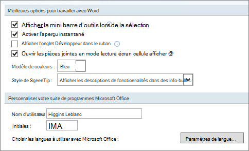 Options populaires de Word 2007