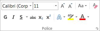 Options de mise en forme dans le groupe Police