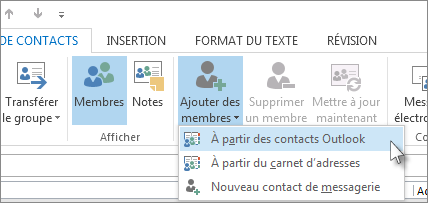 Ajouter des membres à partir des contacts Outlook