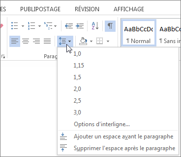 Ins rer un interligne double dans un document word for Dans word