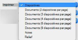 Dans la zone Imprimer, sélectionnez les diapositives