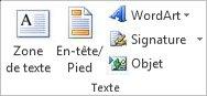 Zone de texte sous l'onglet Insertion dans le ruban Excel 2010