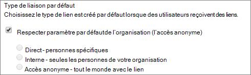 Capture d'écran de paramètres de type de lien par défaut pour une collection de sites