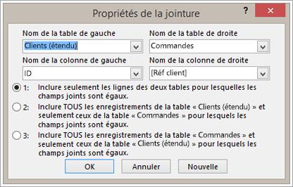 Capture d'écran des propriétés de jointure avec le nom de la table de gauche mis en évidence