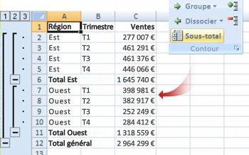Commande Sous-total permettant de regrouper des données dans un plan