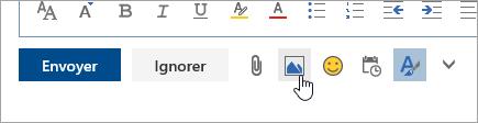 Capture d'écran du bouton Insérer des images incluses