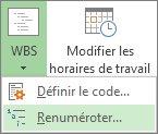 Image de l'onglet Projet, du bouton WBS et de la commande Renuméroter du menu déroulant.