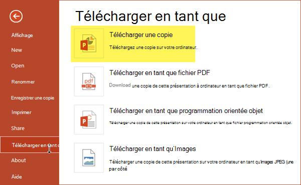 Télécharger une copie permet d'enregistrer la présentation sur votre ordinateur