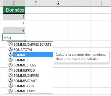 Saisie semi-automatique de formule Excel