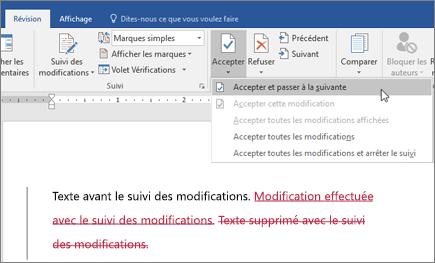 Office365 Word - Suivi des modifications