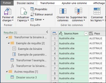 Combiner boîte de dialogue Aperçu de fichiers binaires. Appuyez sur Fermer et charger pour accepter les résultats et les importer dans Excel.