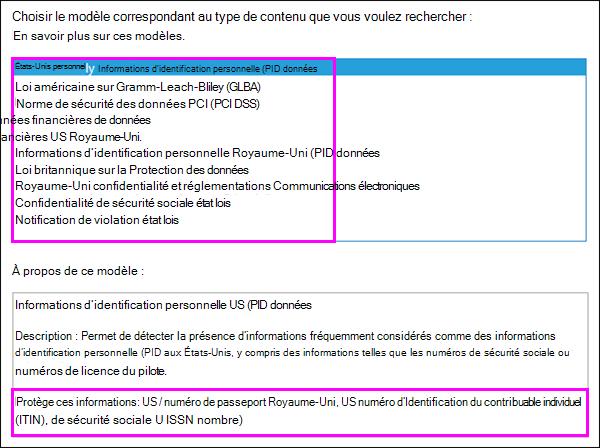 Modèles de stratégies de protection contre la perte de données (DLP)