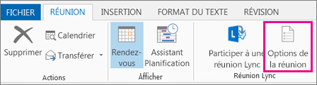 Bouton Options de réunion dans Outlook 2013