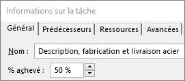 Capture d'écran de la boîte de dialogue Détails de la tâche d'une tâche affichant le pourcentage achevé