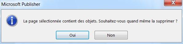 Message d'avertissement en cas de suppression d'une page qui contient des objets.