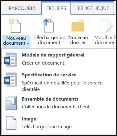 Menu Nouveau document avec des types de contenu personnalisés dans SharePoint
