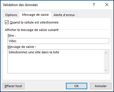 Option Message de saisie de Validation des données
