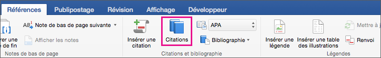 Option Citations mis en évidence sous l'onglet Références