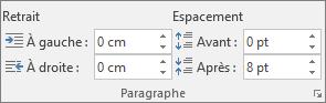 Dans Word, dans l'onglet Disposition, dans le groupe Paragraphe, définissez l'espacement.