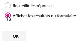 Sélection du composant WebPart Microsoft Forms pour afficher les résultats du formulaire.