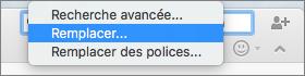 Sélection de l'option Remplacer dans le menu Rechercher
