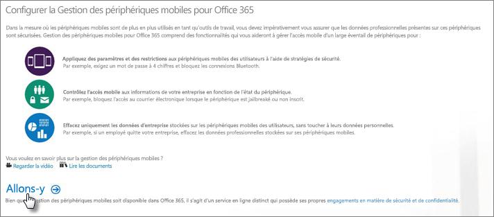 Configurer la gestion des appareils mobiles pour Office365
