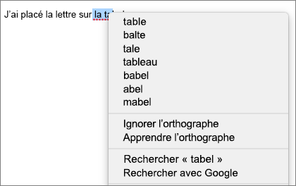 Erreur d'orthographe avec menu affichant les options permettant de la corriger