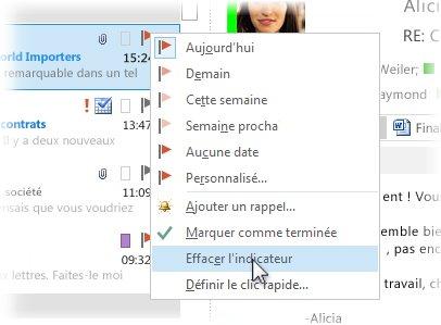 Commande Supprimer l'indicateur du menu contextuel dans la liste de messages